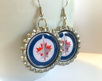 Winnipeg JETS Handcrafted Hockey Earrings