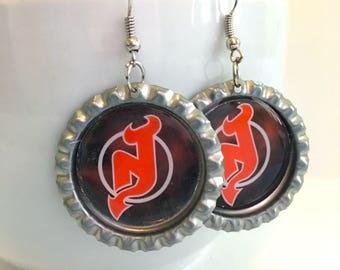 New Jersey DEVILS Handcrafted Hockey Earrings