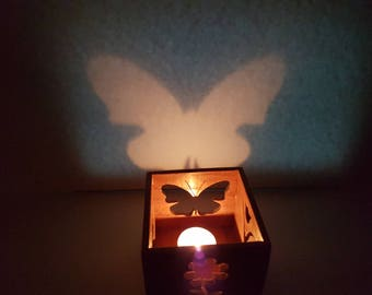 Wooden Candle Box-Butterfly, Dove, Flowers