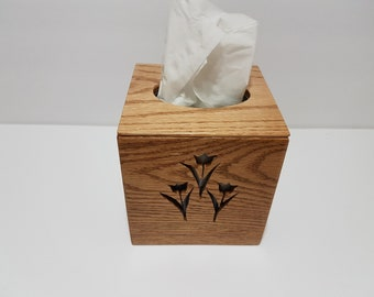 Wooden Tissue & Candle Box with Cover