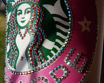 Genuine Swarowski Encrusted Starbucks Travel Mug