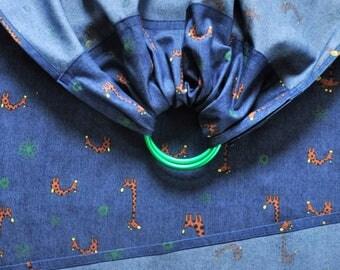 Light jeans fabric Denim baby Ring Sling Sling Carrier 180 x 64 cm Blue
