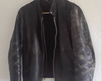 1940s warn in leather motorcycle jacket
