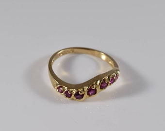Vintage 14K Yellow Gold Ruby Ring Size 6 1/2