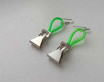 Metal earrings with a design made of plastic wire, modern style, youth, gift, avant-garde style