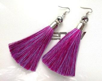 Earrings tassels, ultra violet, fashion earrings with silk tassels, long earrings, earrings as a gift, earrings of pink-purple color
