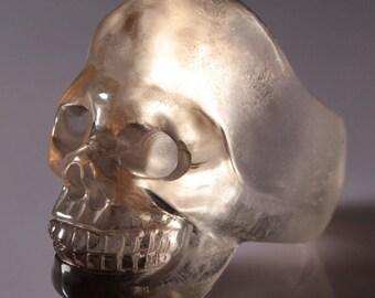Smoky quartz skull ring size 11.25