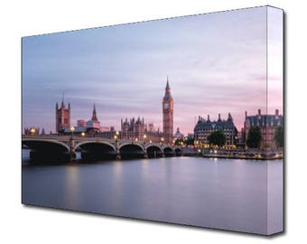 Westminster Bridge CANVAS Print Vibrant Canvas Design Purple Wall Art BRAND NEW Ready To Hang