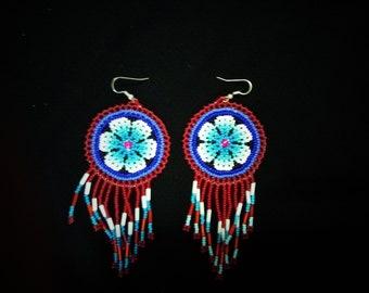 Traditional brick stitch earrings,  Huichol earrings