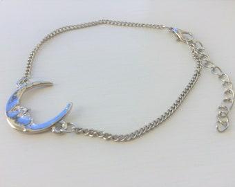 Silver Crescent Moon Face Bracelet Astrology Mystical Folklore Jewellery