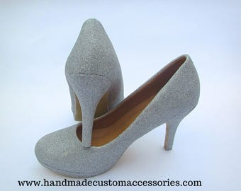 Silver glitter mid stiletto heels/ party /wedding / custom shoes /glitter shoes