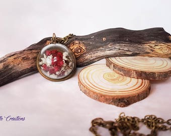 Vial pendant, terrarium, dome, dried flowers, gypsum