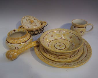 Temptations By Tara Old World Yellow 51 piece Dinner Set