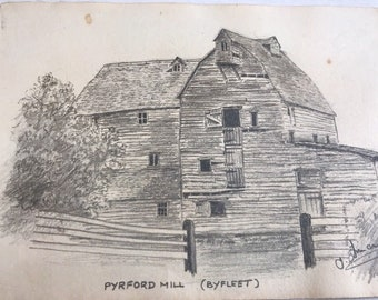 Vintage Pencil Sketch 17 x 12cm - Pyford Mill Byfleet