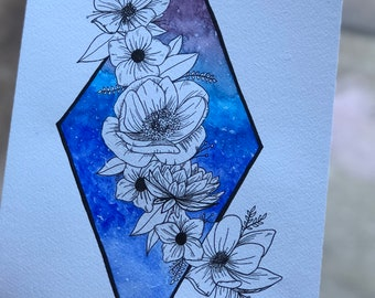 Original Watercolour galaxy painting with floral composition - A4