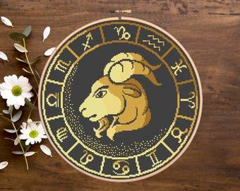 Capricorn Zodiac Cross Stitch Pattern, Capricorn Zodiac Cross Stitch, Zodiac Pattern, Modern Cross Stitch Pattern, Download PDF #zd010