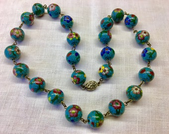 Vintage Chinese Cloisonne Beaded Necklace