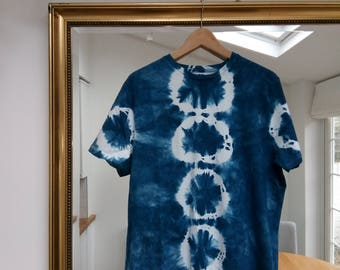 Men's Natural Indigo Tie Dye T-Shirt, 100% Cotton, Size - Large