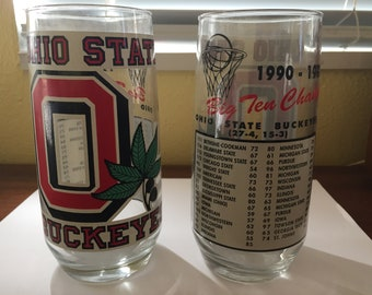 Ohio State Buckeyes 1990-1991 Big 10 Basketball Championship Memorabilia Glasses