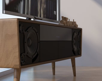 Media Console/TV Stand/Mid Century Modern/Entertainment Unit/Cabinet/ Speakers