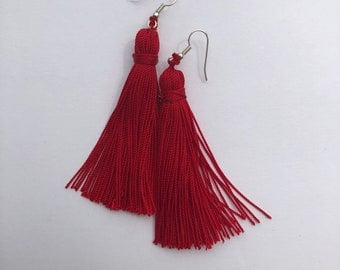 Red Nylon Tassel Earrings