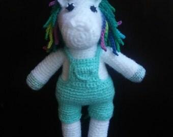 Crochet Unicorn in Overalls - Blue