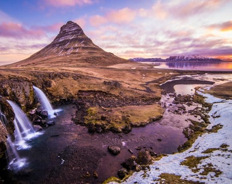 Fine Art Photography Landscape Print. Dazzling Sunset Over Waterfall in Iceland.