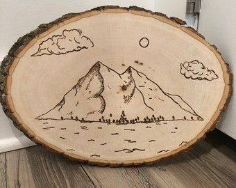 Wood burned Mountains