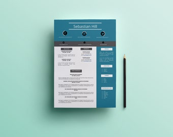 CV | Easy to edit | PDF guide to edit your cv | Totally done in word |  Pack of 33 icons and 2 fonts | Modern cv to give a good impression