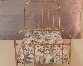 "Artisan Made 1:6 Playscale, Barbie Scale Wrought Iron Look Bed ""LEAH"""