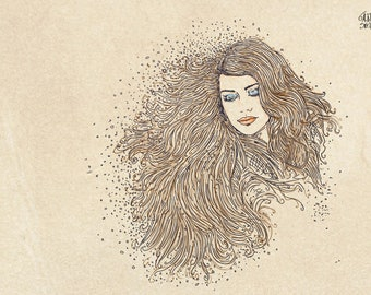 series of women drawn in cartoon portraits, with sand in their hair