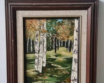 Birch Forest Acrylic Painting on canvas. Framed Vintage painting. Birch trees and forest bathing painting.