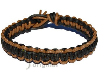Light brown and matte black flat leather bracelet or anklet