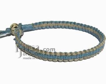 Sky Blue Natural Hemp Surfer Bracelet or Anklet