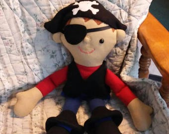 Pirate adventure for your little one. Multicolored fleece. Hypoallergenic stuffing. Safety eyes n nose. 22 long. Bendable arms n legs.