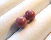 Matched Pair of 8mm Half Drilled Rhodonite Spheres Especially for Vicki