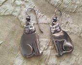 Laurel Burch Silver CATS Polished Steel Earrings French Ear Wires Vintage Jewelry 1980s