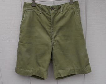 Vintage 60s Men's Boy Scout Shorts / Olive Green Khaki Boy Scouts of America // Sz 30 Waist