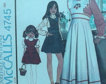 Vintage McCall's 70s Sewing Pattern McCall's 4745 / 1974 girls pinafore jumper prairie dress and blouse size 6