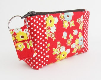 Zip Top Mini Wallet | Small red floral and polka dot fabric zipper pouch to use as a small wallet, business card case, or change purse.