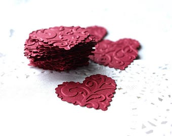 Heart Stickers, Heart Envelope Seals, Red Paper Hearts, Embossed Heart Stickers