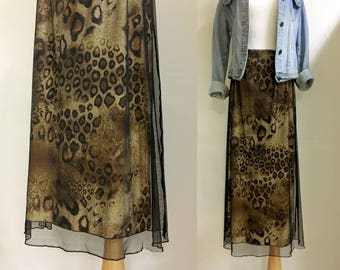 sale*Leopard print maxi long skirt m/l