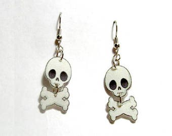 Handcrafted Plastic Jointed Skull and Crossbones Halloween Costume Party Earrings Made in USA
