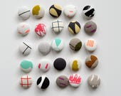 5 x Fabric Covered Metal Buttons. Screen printed fabric, ecofriendly ink. Made in Melbourne.