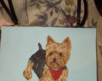 Yorkshire Terrier Yorkie Dog Custom Painted Bag Handbag Purse 3 in 1