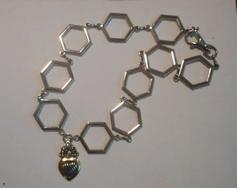 Geometric Hexagon Silver Tone Chain Statement Necklace Heart pendant Jewelry OOAK