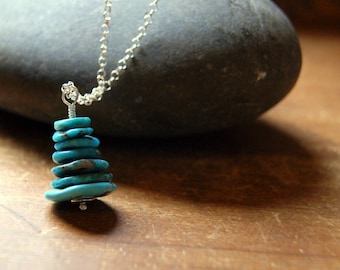 Kingman Turquoise Cairn Necklace - Turquoise Cairn Pendant with Sterling Silver Chain
