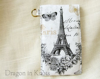 Eiffel Tower Lip Gloss Holder - Tall or Short Paris France Insulated Keychain Snap Pouch, Cotton Lip Balm Case, French Romantic Card Wallet