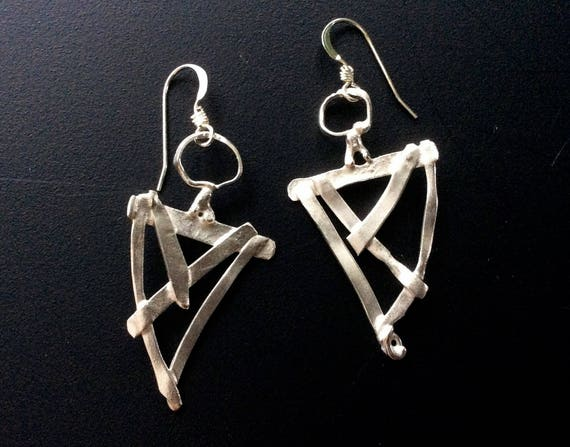 Abstract funky  fused sterling silver earrings with circle and triangular shapes