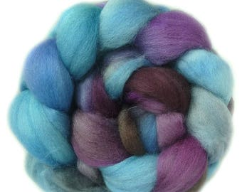 Shetland handdyed wool roving top spinning or felting fiber 3.6 oz
